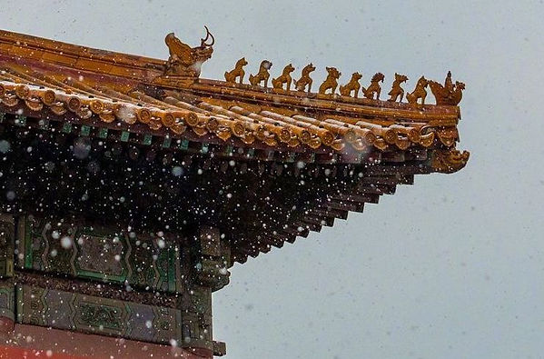 Nine Mythical Animals and Leading Deity on Roof of the Forbidden City