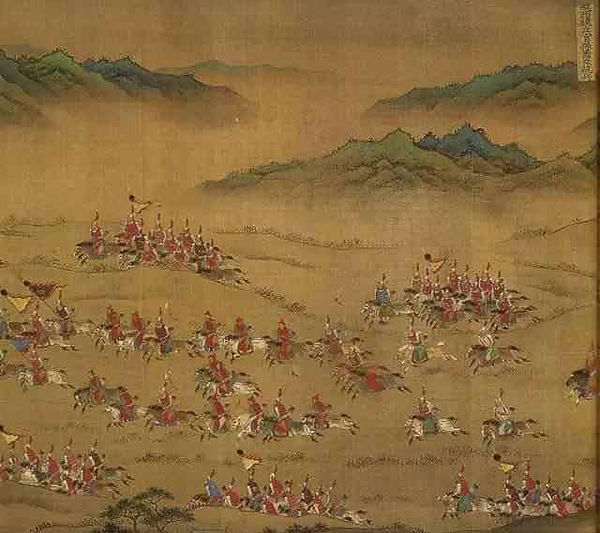 """Cavalry Army of the Ming Dynasty in the Painting """"Ping Fan De Sheng Tu"""", Painted Around 1573-1620"""