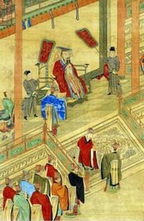 Emperor Yang Jian of Sui Dynasty in History of China Meeting With His Ministers