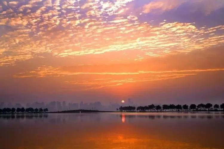 Sunrise of Causeway on West Lake
