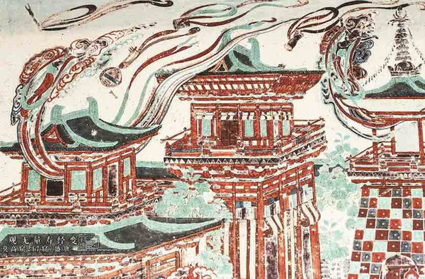 "Part of Tang Dynasty Mural ""Guan Wu Liang Shou Jing Bian"" in the 217th Cave of Mogao Grottoes on Silk Road"