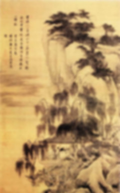 "Tang Yin's Painting ""Luo Xia Gu Wu Tu"" that Describes A Lonely Scholar Appreciating Sunset Glow and Water Birds"