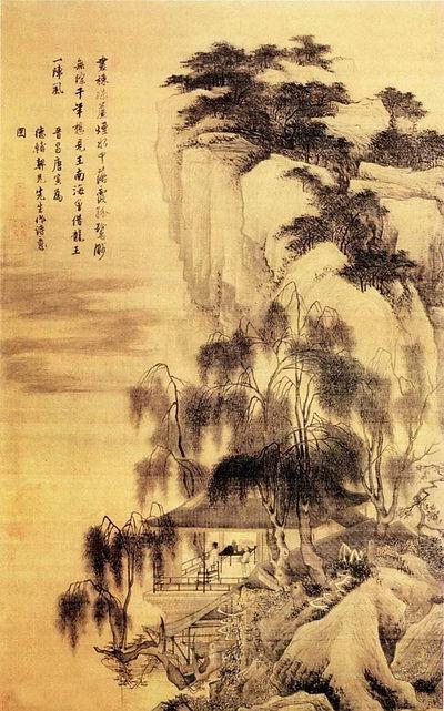 "Tang Yin's Painting ""Luo Xia Gu Wu Tu"" that Describes A Lonely Scholar Appreciating Sunset Glow and Water Birds"