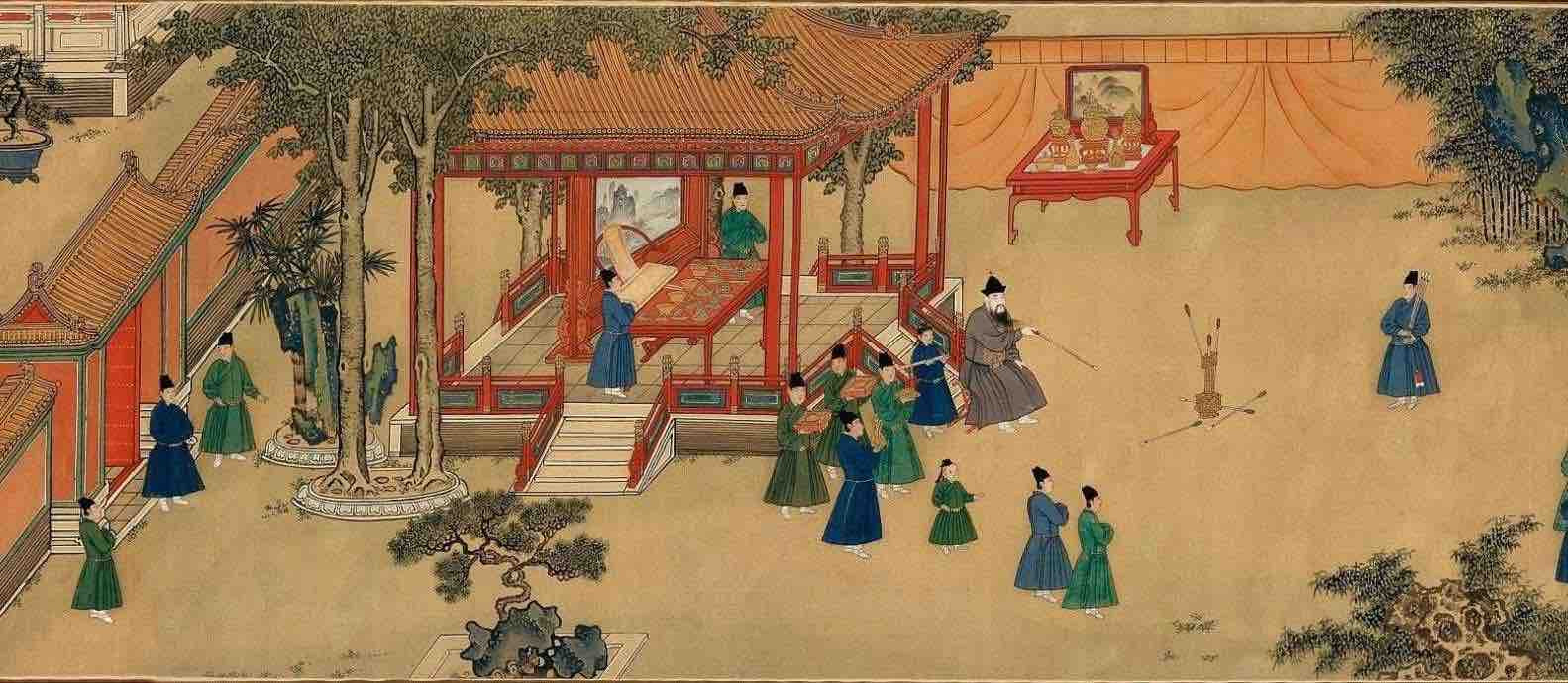 "Painting ""Zhu Zhanji Xing Le Tu"" Presenting Emperor Zhu Zhanji's Entertainment Activities in the Royal Palace Part 2"