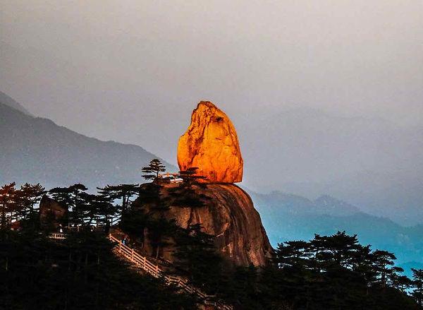Immortal Peach Stone (or Xiantao Shi) of Huangshan Mountain