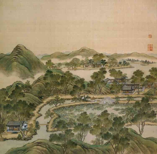 """Part of Court Painting """"Forty Scenes of the Old Summer Palace"""" (Yuan Ming Yuan Si Shi Jing Tu Yong) of the Qing Dynasty 6"""