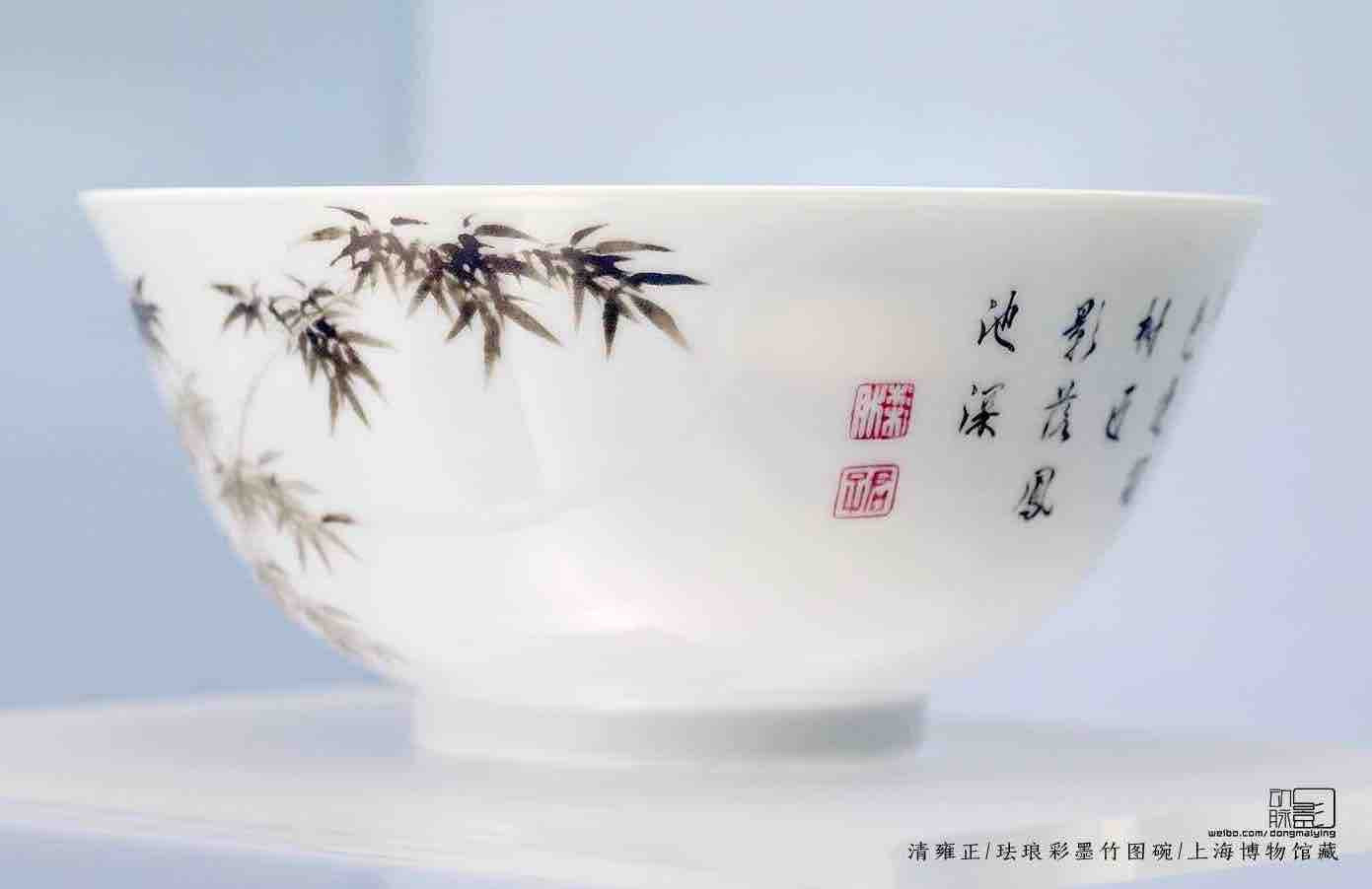 Colour Enamel Bowl Decorated with Bamboo Painting and Poem — Shanghai Museum