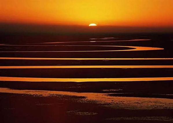Sunset and Yellow River or Huanghe River
