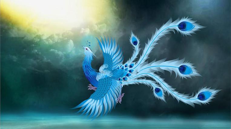 Cyan: Qing Luan, the messenger of Deity Xiwangmu of Mount Kunlun.