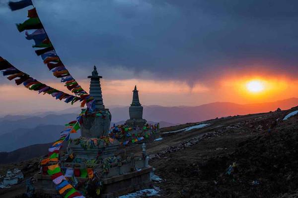 Pagodas and Buddhism Prayer Flags on Mount Wutai