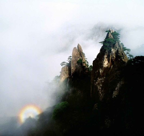 Colorful Light on Peaks of Huangshan Mountain