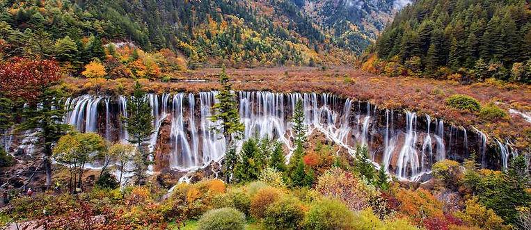 Magnificent Nuorilang Waterfall in Jiuzhaigou