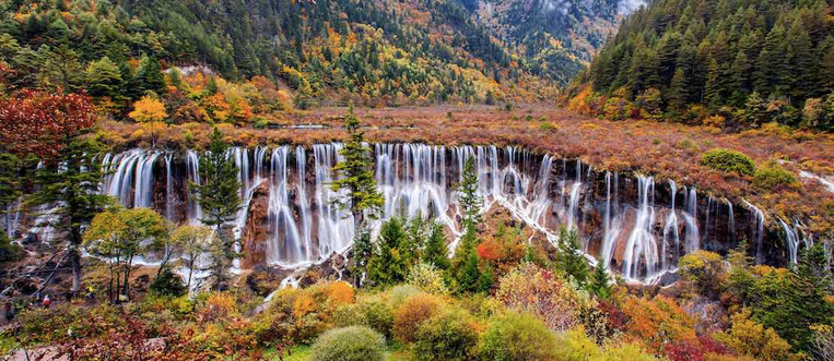 Magnificent Nuorilang Waterfall in Jiuzhaigou