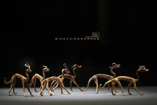 Golden Dragons (Zou Long) that used as Ritual Implements of Taoism Religion Ceremony in the Tang Dynasty