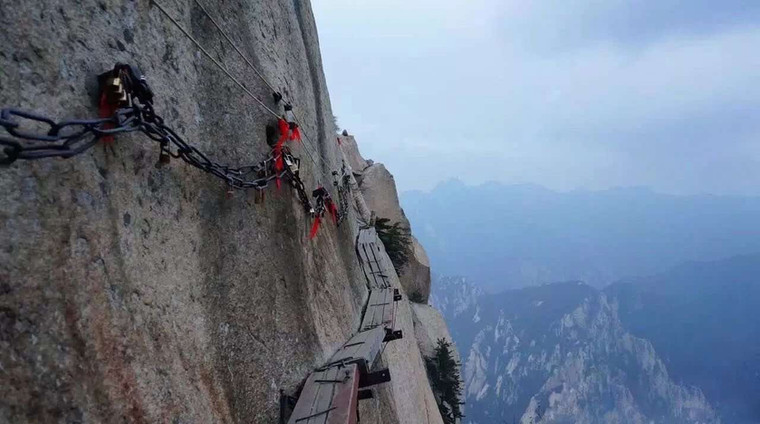 Plank Roads and Added Iron Chains on Cliffs of Mount Hua