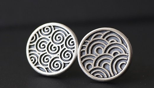 Water, Cloud, and Wind Patterns Ear Studs, Bracelet, and Necklace