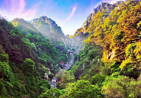 Eighteen Bends (Shibapan) and South Heavenly Gate (Nantian Men) of Mount Tai.
