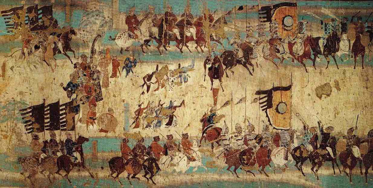 Mural of Tang Dynasty About General Zhang Yichao (799 — 872) and His Army — 156th Cave of Mogao Grottoes