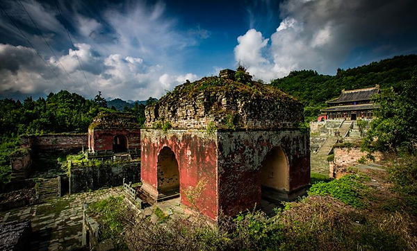Ruins of Five Dragon Palace (or Wulong Gong), One of the Earliest Temples of the Wudang Mountains