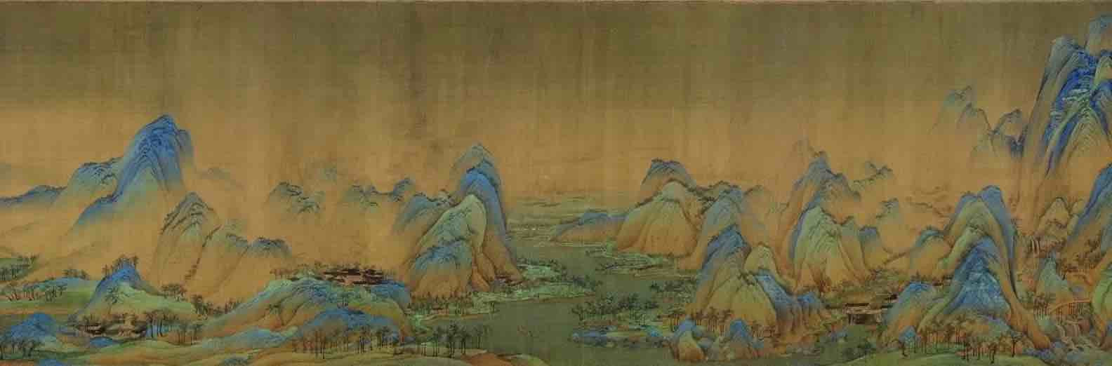 Painting Thousands Miles of Mountains and Rivers (Qian Li Jiang Shan Tu), by Artist Wang Ximeng of the Song Dynasty, Part 3