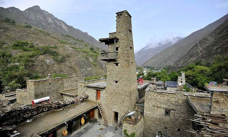 Ancient Stone Building Complex of the Taoping Qiang Stockaded Village in Jiuzhaigou.