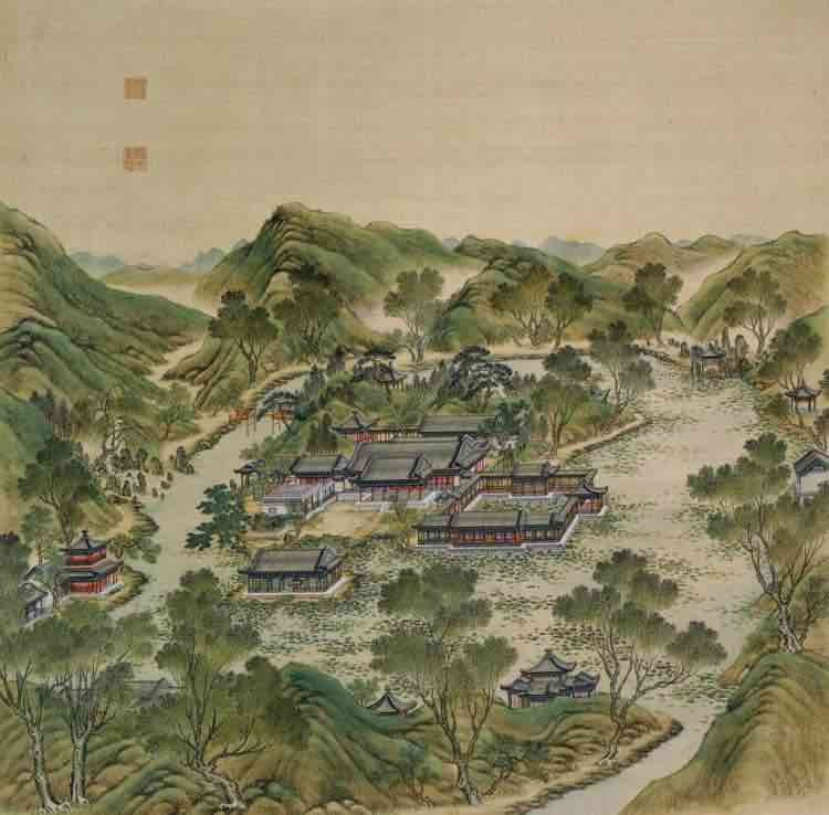 "Part of Court Painting ""Forty Scenes of the Old Summer Palace"" (Yuan Ming Yuan Si Shi Jing Tu Yong) of the Qing Dynasty 5"