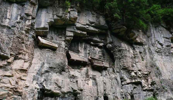 Ancient Wooden Boat Coffins in the Cliffs of Mount Wuyi