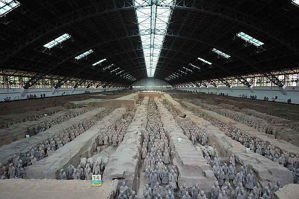 Unearthed Terracotta Warriors Pit One — Emperor Qinshihuang's Mausoleum Site Museum