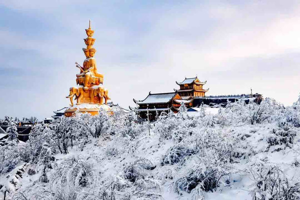 Golden Summit of Mount Emei Covered by Snow.