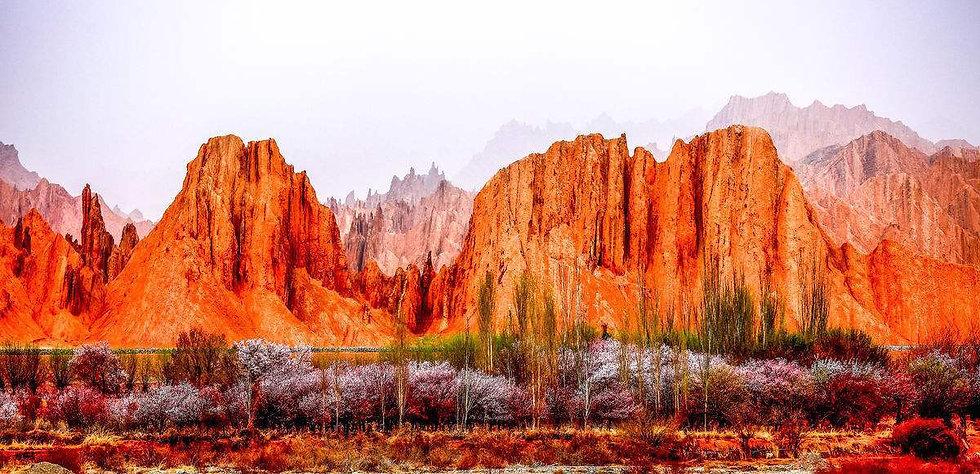 flaming mountains in Xinjiang