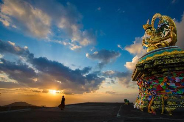 Statue of Bodhisattva Manjusri (Wenshu) the Deity of Mount Wutai.