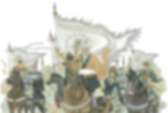 Minister Jiang Shang leading army of Zhou Dynasty