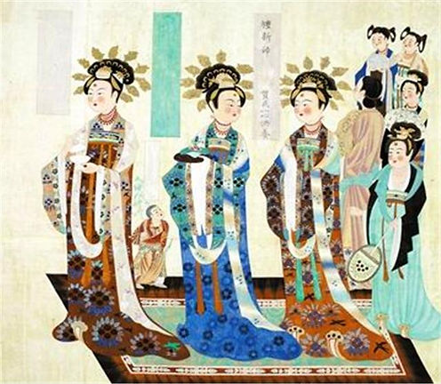Figures of Noble Women of Tang Dynasty (618 — 907) on Frescoes of Mogao Caves