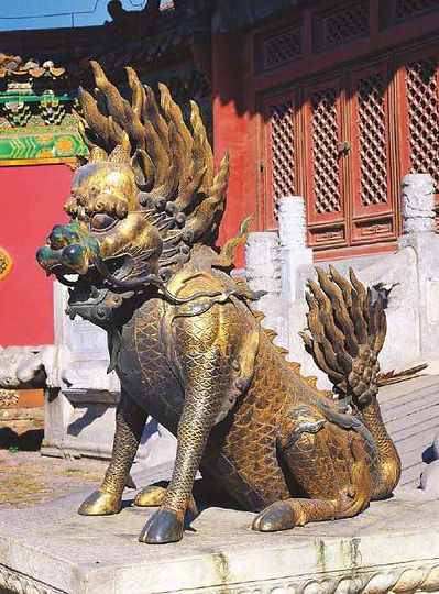 Gilt Bronze Qilin in Front of Cining Gate of Forbidden City