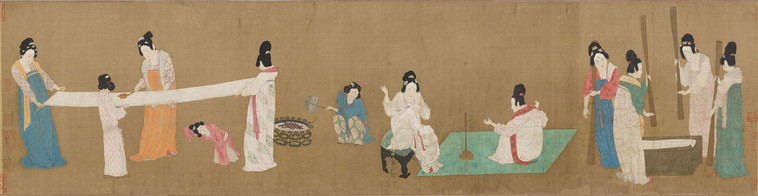 Court Ladies Preparing Newly Woven Silk (Dao Lian Tu), Painted By Emperor Huizong of Song