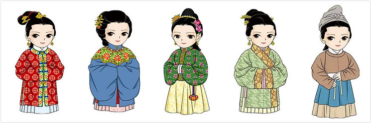 Different Hairstyle and Costumes of Married Civilian Women of the Ming Dynasty (1368 — 1644) — By Xiefang Zhuren (Dong Jin)