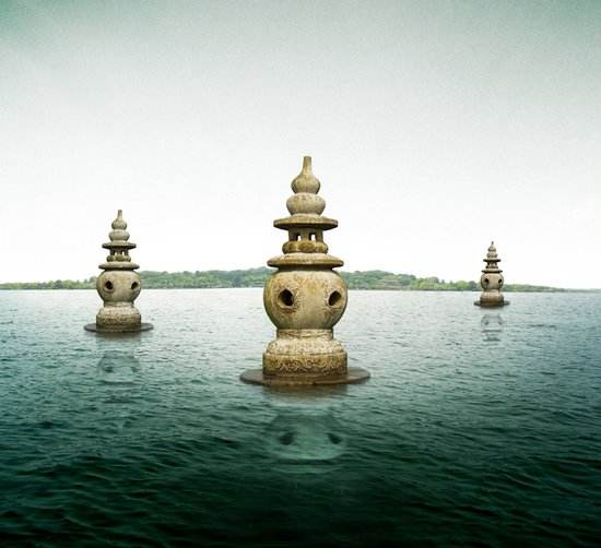 Three pagodas in West Lake