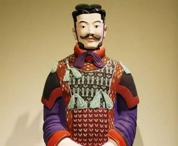 Recovered Original Painting Colors of the General in Terracotta Warriors