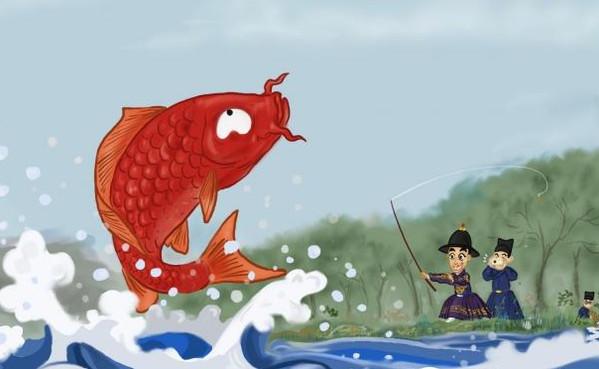 Zhengde Emperor Zhu Houzhao Fishing, By Dong Jin (Xie Fang Zhu Ren).