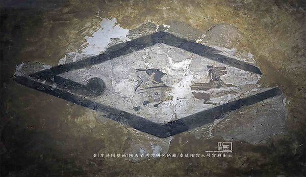 Chariots and Horses Fresco unearthed from Ruins of the Xianyang Palace