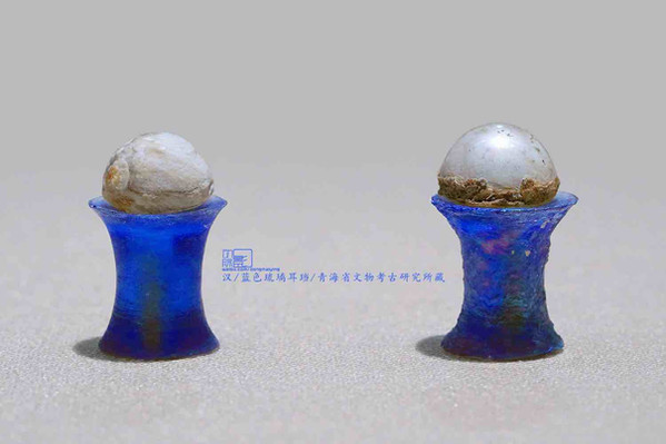 Blue Colored Glaze Earring (Er Dang) of the Han Dynasty (202 BC — 220 AD) — Qinghai Antique Archaeology Institute (Photo by Dongmaiying)