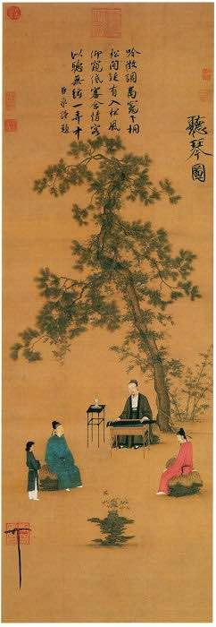 Appreciating Musical Instrument Qin (Ting Qin Tu) (147.2 cm × 51.3 cm) — The Palace Museum