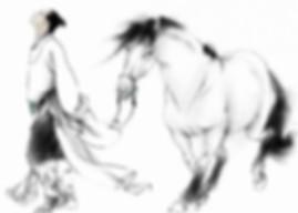 Historical figure Ruan Ji with his horse wandering in nature