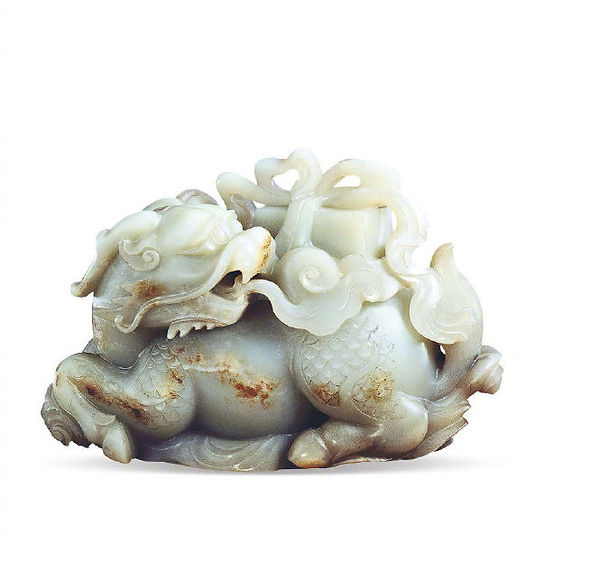 Jade Decoration of the Qing Dynasty (1636 — 1912) Based on Story of Qilin Spitting of Jade Book