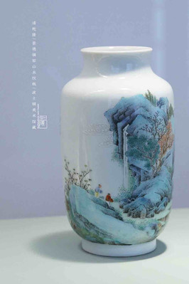 White Porcelain Bottle with Landscape Painting of Jingdezhen of the Qing Dynasty — Museum of Fine Arts, Boston