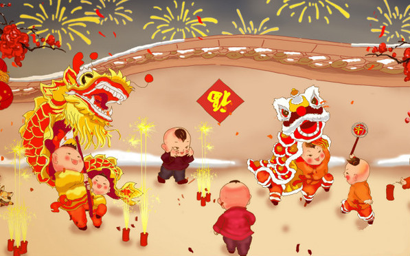 Dragon Dance and Lion Dance in Chinese New Year the Spring Festival