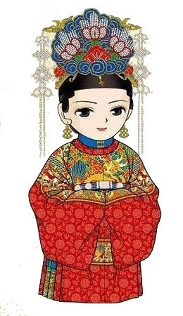 Bride's Wedding Costume and Phenix Crown of the Ming Dynasty (1368 — 1644), by Xiefang Zhuren (Dong Jin)