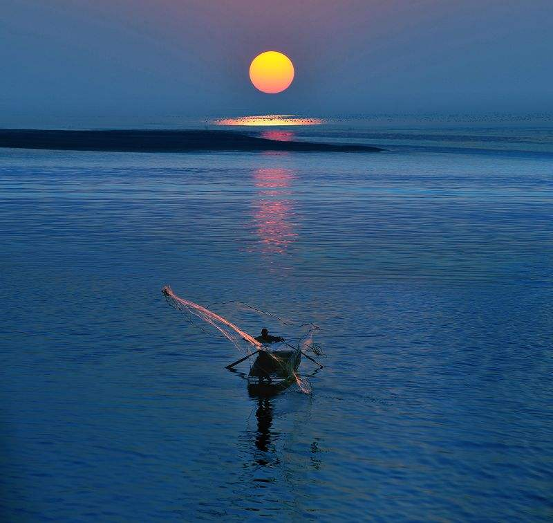 Fisherman on the lake