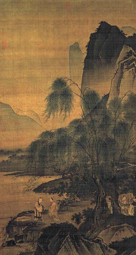 """Painting """"Weibin Chui Diao Tu"""" depicts Lord Ji Chang's Meeting with Jiang Ziya, By Artist Dai Jin (1388 — 1462) of the Ming Dynasty"""