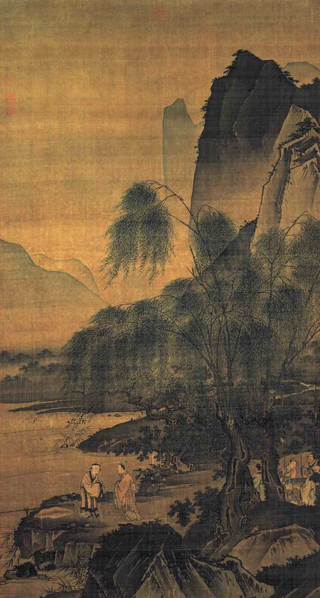 "Painting ""Weibin Chui Diao Tu"" depicts Lord Ji Chang's Meeting with Jiang Ziya, By Artist Dai Jin (1388 — 1462) of the Ming Dynasty"